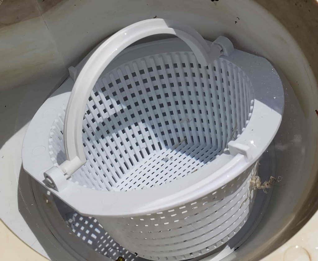 Skimmer basket floating up.