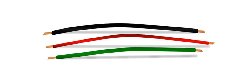 black, red and green electric wire.